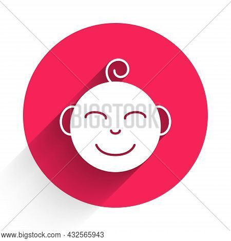 White Happy Little Boy Head Icon Isolated With Long Shadow Background. Face Of Baby Boy. Red Circle