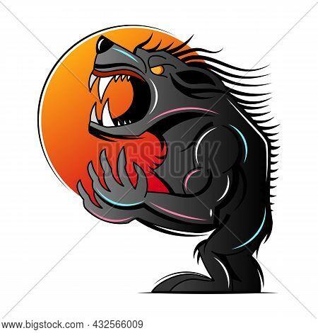 Scary Wolfman Werewolf Or Wolf Animal Mascot