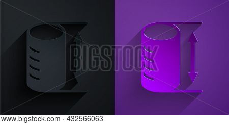 Paper Cut Height Geometrical Figure Icon Isolated On Black On Purple Background. Abstract Shape. Geo