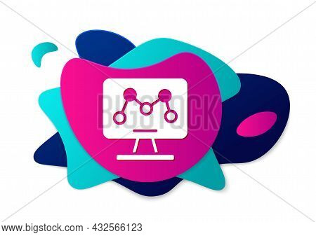 Color Genetic Engineering Modification On Laptop Icon Isolated On White Background. Dna Analysis, Ge