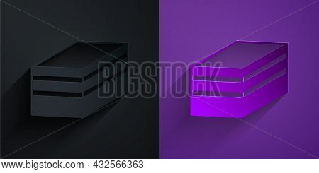 Paper Cut Piece Of Cake Icon Isolated On Black On Purple Background. Happy Birthday. Paper Art Style
