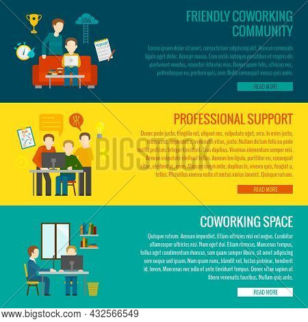 Coworking Space Center Banner Set With Friendly Community Professional Support Elements Isolated Vec