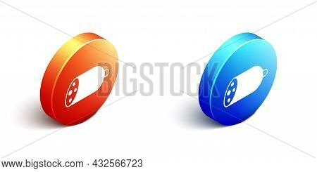 Isometric Salami Sausage Icon Isolated On White Background. Meat Delicatessen Product. Orange And Bl