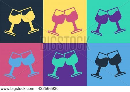 Pop Art Wine Glass Icon Isolated On Color Background. Wineglass Sign. Vector