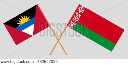 Crossed Flags Of Belarus And Antigua And Barbuda