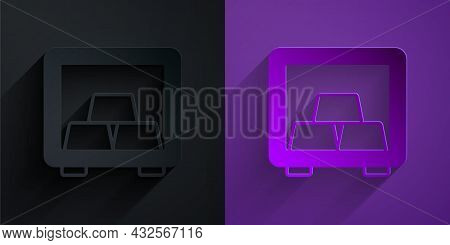 Paper Cut Safe With Gold Bars Icon Isolated On Black On Purple Background. Precious Metals On Deposi