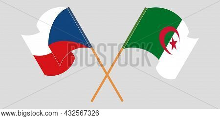 Crossed Flags Of Algeria And Czech Republic