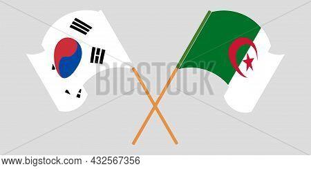 Crossed Flags Of Algeria And South Korea