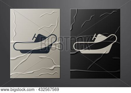 White Rafting Boat Icon Isolated On Crumpled Paper Background. Inflatable Boat With Paddles. Water S