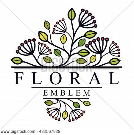 Vector Floral Emblem Isolated On White Background, Leaves And Branches Linear Logo, Luxury Classic S