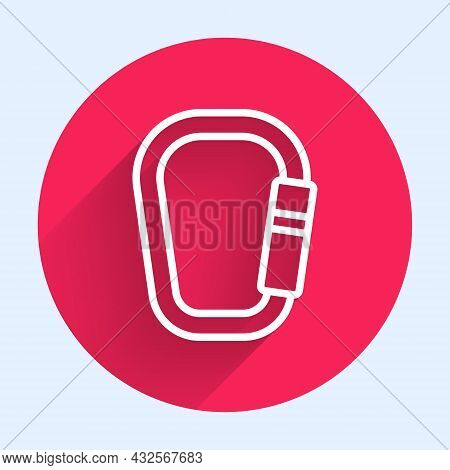 White Line Carabiner Icon Isolated With Long Shadow. Extreme Sport. Sport Equipment. Red Circle Butt