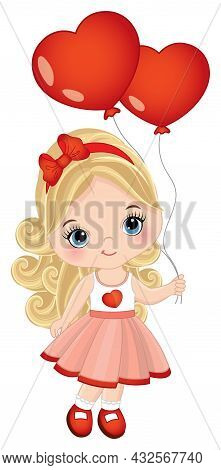 Cute, Little Girl Wearing Red Dress Holding Heart Shape Air Balloons. Little Girl Is Blond With Long