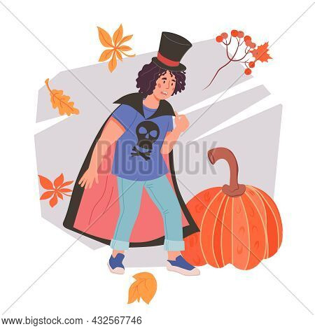 Halloween Banner Or Greeting Card Element With Child Boy In Costume Of Vampire Dracula, Flat Cartoon