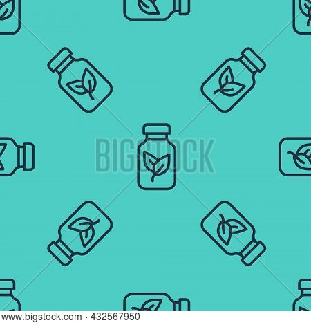 Black Line Fertilizer Bottle Icon Isolated Seamless Pattern On Green Background. Vector