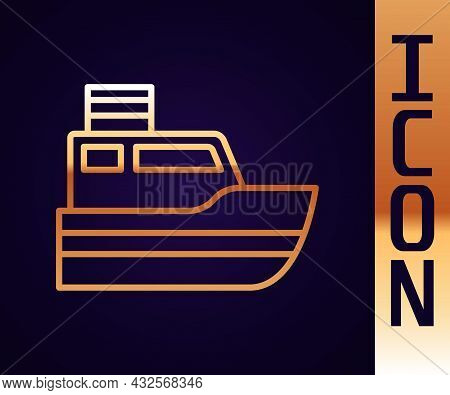 Gold Line Ship Line Path Of Ship Sea Route With Start Point Gps And Black Line Icon Isolated On Blac