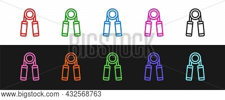Set Line Sport Expander Icon Isolated On Black And White Background. Sport Equipment. Vector