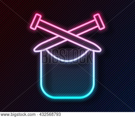 Glowing Neon Line Knitting Icon Isolated On Black Background. Wool Emblem With Knitted Fabric And Ne