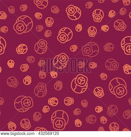 Brown Line International Day Of Peace Icon Isolated Seamless Pattern On Red Background. World Peace.