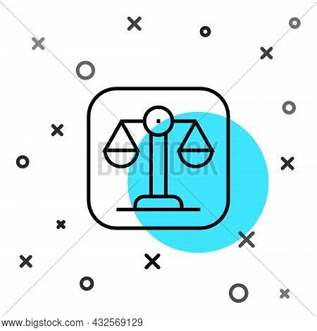 Black Line Scales Of Justice Icon Isolated On White Background. Court Of Law Symbol. Balance Scale S