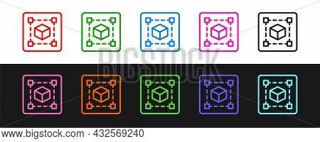 Set Line Geometric Figure Cube Icon Isolated On Black And White Background. Abstract Shape. Geometri
