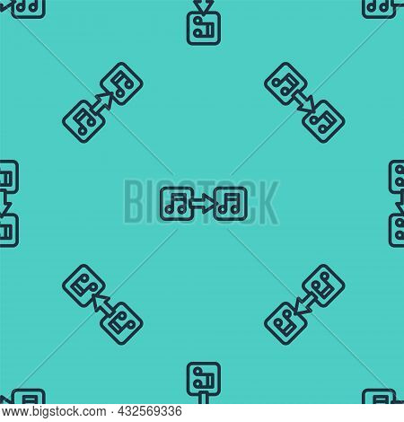 Black Line Music Note, Tone Icon Isolated Seamless Pattern On Green Background. Vector