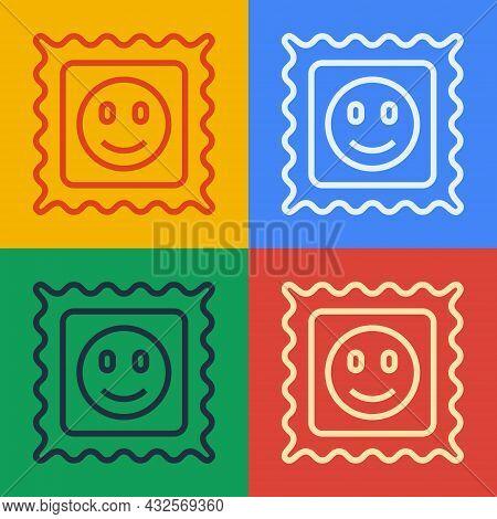 Pop Art Line Lsd Acid Mark Icon Isolated On Color Background. Acid Narcotic. Postmark. Postage Stamp