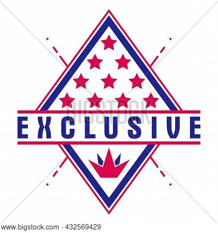 Vector Premium Exclusive Label Isolated On White Background, Product Logo Or Badge Best Price, Vinta