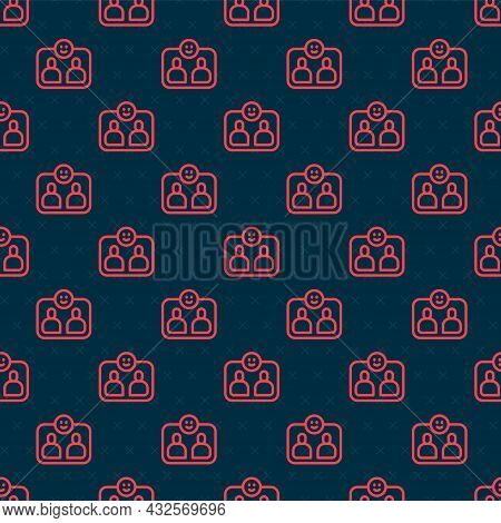 Red Line Friends Forever Icon Isolated Seamless Pattern On Black Background. Everlasting Friendship