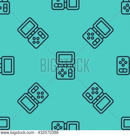 Black Line Portable Tetris Electronic Game Icon Isolated Seamless Pattern On Green Background. Vinta