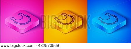Isometric Line Baby Bib Icon Isolated On Pink And Orange, Blue Background. Square Button. Vector