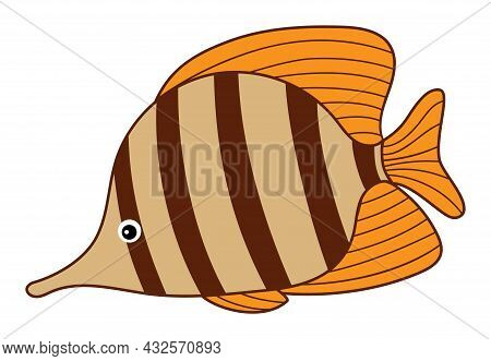 Isolated Cute Tropical Colourful Fish With Stripes. Vector Cartoon Fish. Fish Vector Illustration