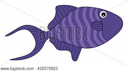 Isolated Cute Tropical Purple Fish With Stripes. Vector Cartoon Fish. Fish Vector Illustration