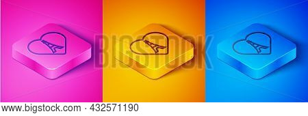 Isometric Line Eiffel Tower With Heart Icon Isolated On Pink And Orange, Blue Background. France Par
