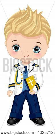 First Communion Spanish Admiral. Little Boy First Confirmation. Cute Boy Is Blond With Blue Eyes Wea