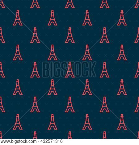 Red Line Eiffel Tower Icon Isolated Seamless Pattern On Black Background. France Paris Landmark Symb
