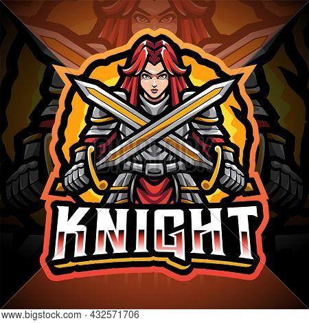 Women Knight Esport Mascot Logo Design With Text