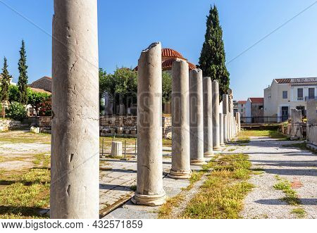 Ancient Greek Ruins In Roman Agora, Athens, Greece, Europe. It Is Tourist Attraction Of Athens. Rema