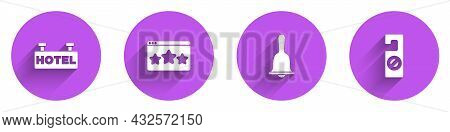 Set Signboard With Text Hotel, Five Stars Rating Review, Service Bell And Please Do Not Disturb Icon