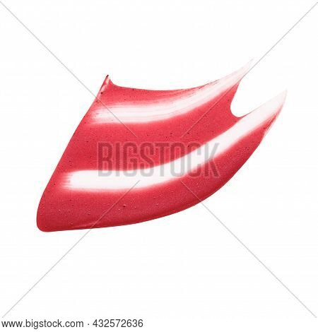 Smudged Red Lip Gloss Sample Isolated On White Background