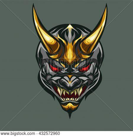 Japanese Devil Mask. Illustration Of Colorful Vectors. Illustration Of A Devil-faced Mask
