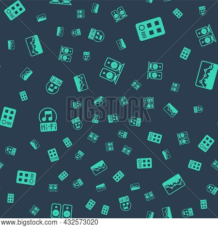 Set Stereo Speaker, Drum Machine, Music Note, Tone And Wave Equalizer On Seamless Pattern. Vector