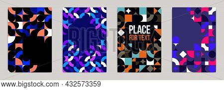 Backgrounds And Cover Templates Vector Set, Abstract Geometric Designs, Bright Color Compositions Wi