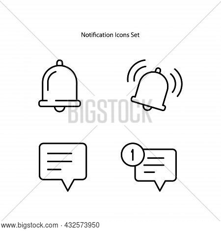 Notification Icons Set Isolated On White Background. Notification Icon Thin Line Outline Linear Noti