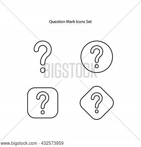 Question Mark Icons Set Isolated On White Background. Question Mark Icon Thin Line Outline Linear Qu