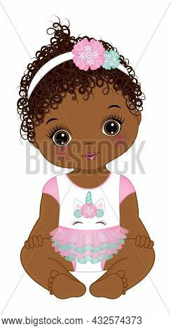 Cute Little Black Baby Girl Wearing Unicorn Dress And Floral Headband. Baby Girl Is Curly. African A