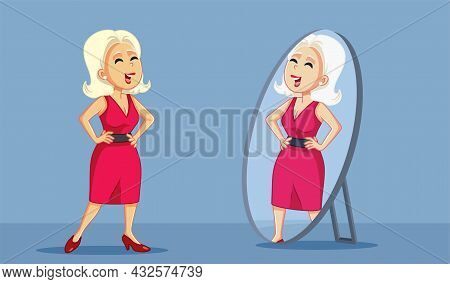 Confident Woman Looking Proudly In The Mirror Vector Cartoon
