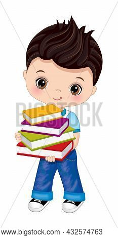 Cute School Boy Is Dark-haired With Hazel Eyes Wearing Jeans And T-shirt With Books. Vector Back To