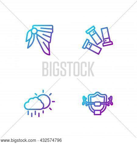 Set Line Deer Antlers On Shield, Cloud With Rain, Bandana Or Biker Scarf And Cartridges. Gradient Co