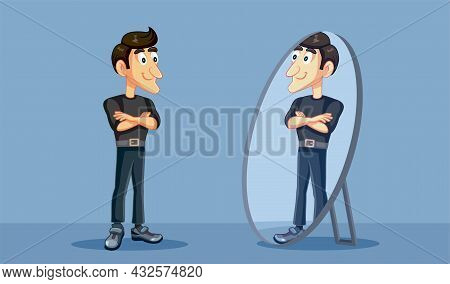 Confident Man Looking Proudly In The Mirror Vector Cartoon