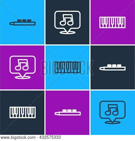 Set Line Drum And Drum Sticks, Music Synthesizer And Note, Tone Icon. Vector